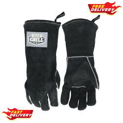 Expert Grill 14 Insulated Heat Resistant Leather Bbq Gloves, Black Colour
