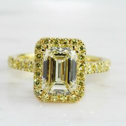 Vintage 4.40.ct White Diamond And Canary Antique Ring Antique 925 Sterling Silver