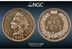 Ngc Pf-66 Rb 1905 Indian Head Cent, Deeply Mirrored Proof, Looks Full-red