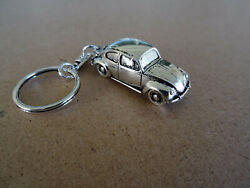 Vw Early Beetle Keychain Silver Plated Gift.