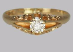 Antique 0.5ct Old Cut Diamond 18ct Gold Edwardian Solitaire Ring 1908 Size V 1/2