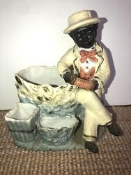 Black Americana Man With Accordion With Cigarette And Match Holder And Ashtray.