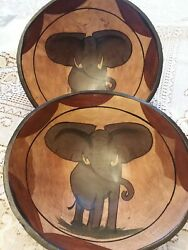 Hand Carved Wooden Elephant Bowls