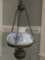 Vintage Glass Hurricane Oil Lamp Hang Light Electric French Country Blue Floral