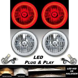7 Red Smd Led Halo Angel Eye Crystal Clear H4 Headlight And 6500k Led Bulb Pair