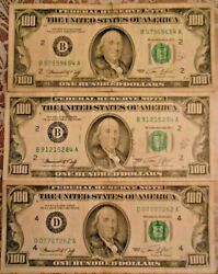 1974 100 United States Federal Reserve Notes Lot Of Three Notes