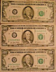 1977 100 United States Federal Reserve Notes Lot Of Three Notes
