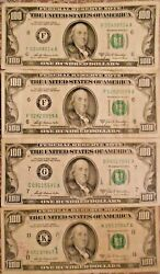 1969-a 100 United States Federal Reserve Notes Lot Of Four