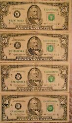 1988 And 1990 50 United States Federal Reserve Notes Lot Of Four Notes