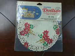 Vintage Christmas Poinsettia Paper Doilies Doily Red Green Gold 32 6 Roylcraft