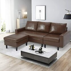 Esright 4 Seat Convertible Sectional Sofa Couch L Shaped Leather Sofa Set Brown