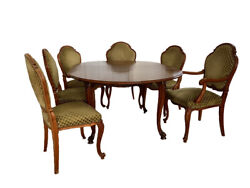 Antique Handmade Table With 6 Green Upholstered Chairs
