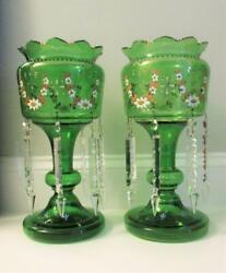Pair Emerald Green Antique Mantel Lusters 14.5 Tall - 6 Prisms Enamel Swags