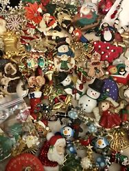Huge Vintage And Modern Christmas Jewelry Lot 12lbs Brooches Watches More
