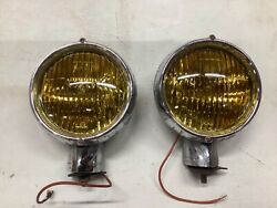 Vintage Pair Fog Light Electroline Dominion 6volt Amber Early Truck Auto Car Old