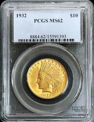 1932 Gold United States 10 Dollar Indian Head Coin Pcgs Mint State 62