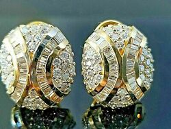 2 Ct Round And Baguette Diamond 14k Yellow Gold Over Halo Leverback Stud Earrings