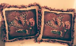 Set of 2 Elegant Butterflies Fireflies Fringed Tapestry Pillows DBL Sided 12in