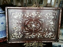 Chinese Qing Dynasty Inlaid Mother Of Pearl Rosewood Tray