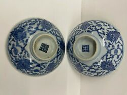 Antique Chinese Porcelain Dishes Plates Bowls Pair 19th Century Blue White 2