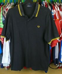 FRED PERRY TWIN TIPPED YELLOW PIPING BLACK COTTON PIQUE POLO SHIRT TOP XXL GBP 14.99