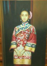 Huge Chinese Geisha Girl Original Oil On Board Painting Unsigned
