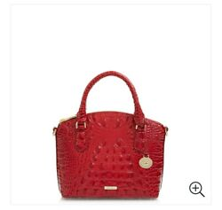Nwt Brahmin Duxie Ember Red Melbourne Croco Embos Leather Hand Crossbody Bag