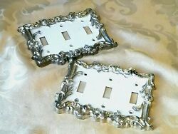 Lot Of 2 Vintage/antique Triple Light Switch Covers Brass Enamel Painted