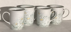 Denby Fine Porcelain Pastel Collection Serenade-4 Coffee Mugs Portugal Daisies