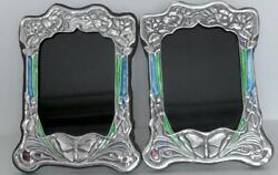 Pair Of Sterling Stamped Art Nouveau Style Enamelled Picture Frames