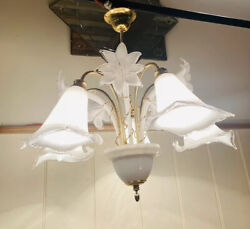 Murano Glass Vintage Calla Lilly Chandelier, Mcm Light By 'franco Luce'