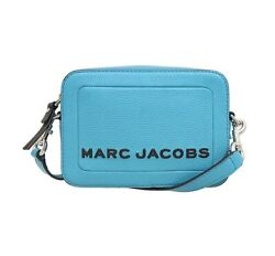 NWT MARC JACOBS The Box Leather Crossbody Zip Logo Boxy Windy Blue M0015088 $177.00