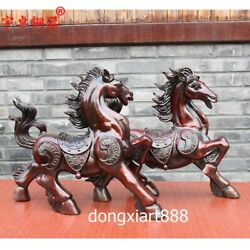 46 Cm Chinese Zodiac Wealth Fengshui Animal Amulet Beast Horse Bronze Sculpture