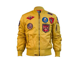 Top Gun Ma-1 Nylon Bomber Wheat Menand039s Jacket With Patches Tgj1540p