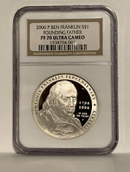 2006 P Proof 1 Ben Franklin Founding Father Slr Commem. Coin Ngc Pf70 Uc