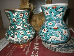 Ikaros Rhodes Pottery Early 60and039s/2 Vases One With Gold Trimmssame Green Colour