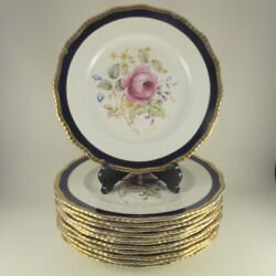C1938 Curnock Rose Cobalt By Royal Doulton Set Of 12 Dinner Plates Gadroon Gold