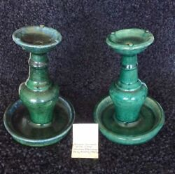 Antique Chinese Ceramic Wick Lamps Pair Marked - Dark Green And Blue