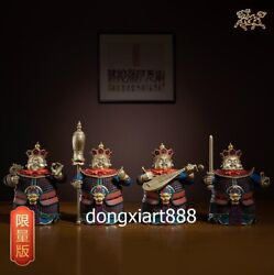 27 Cm Chinese Art Deco Brass Painted Four Guardian God Warrior Soldier Sculpture