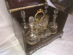 Antique French Tantalus Stunning Mother Of Pearl Inlay Liquor Cabinet