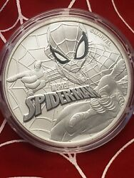 2017 Tuvalu Marvel Series Spiderman 1 Oz .9999 Silver Rare And 1st In Series
