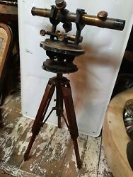 Nautical Brass Antique Telescope Compass Transit Surveying With Tripod