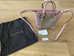 NWT Gucci GG Bree Canvas Tote Shoulder Bag Beige Pink Authentic $699.00