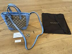 NWT Gucci GG Bree Beige Canvas Tote Crossbody Bag Blue Leather Trim Authentic $699.00