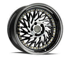 18x9.5 Aodhan Ds03 5x100 +35 Black Vacuum True Directional Rims New Set
