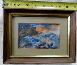 VINTAGE MODERN ABSTRACT SMALL WATERCOLOR ARTIST HIRSCH NYC 1950 ?