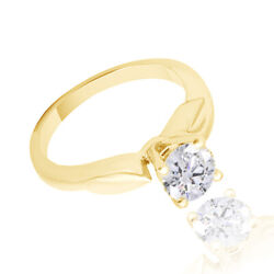 6.89ct Simulated Round Diamond 18k Yellow Gold Vintage Solitaire Ring
