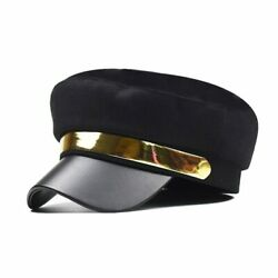 Fashion Pu Leather Military Hat Autumn Sailor Octagonal Hats For Women Flat Top