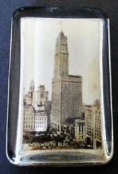 Woolworth Building New York City Souvenir Glass Paperweight With Mirror On Back
