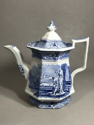 Antique Staffordshire Blue White Teapot 2 Maidens Dove In Architectural Setting